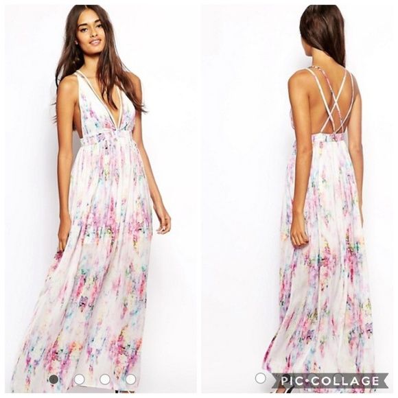 Oh My Love Dresses Watercolor Maxi Dress Plunging Floral Pastel
